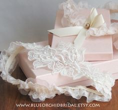 Bridal Garter Set Ivory Garter TeaStained by BlueOrchidBridal, $45.00