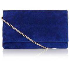 Karen Millen Suede Clutch ($175) ❤ liked on Polyvore featuring bags, handbags, clutches, purses, bolsos, bolsa, foldover purse, fold over handbag, chain handle handbags and karen millen