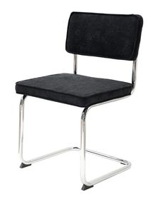 Sevilla+Spisestol+-+Stilig+retroinspirert+spisebordstol+med+svart+polstret+sete+og+rygglen+i+fløyel+samt+et+flott+krom+understell.