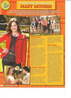 Mary Mouser, Full Page Pinup Clipping