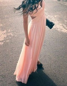 long pink flowing dress, perfect for a spring prom