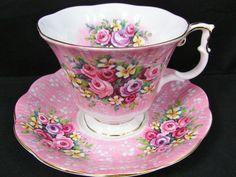Royal Albert Festival Series Lyric Pink Floral Cup and Saucer Vintage Cups, Vintage Dishes, Vintage China, Royal Albert, Deco Originale, Teapots And Cups, Teacups, China Tea Cups, My Cup Of Tea