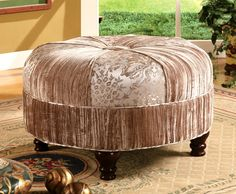 Round Upholstered Ottoman w Contrasting Fabric Finish & Carved Wood Legs