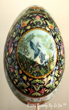 Elysium Ukrainian Style Batik Easter Egg Pysanky by So Jeo.  This design is based (with permission), on the most incredible Miniature Knotted Rug created by the wonderfully talented artist Teresa Layman http://teresalayman.weebly.com/the-masterpiece.html
