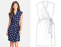 Love this wrap dress! Especially the cut of the neckline and the sleeves. Eliza J Polka Dot Jersey Faux Wrap Dress (Petite) available at Petite Dresses, Cute Dresses, Beautiful Dresses, Casual Dresses, Fashion Dresses, Summer Dresses, Wrap Dresses, Maxi Dresses, Dance Dresses