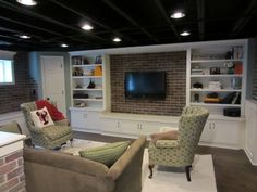 Image result for basement renovation ideas low ceiling