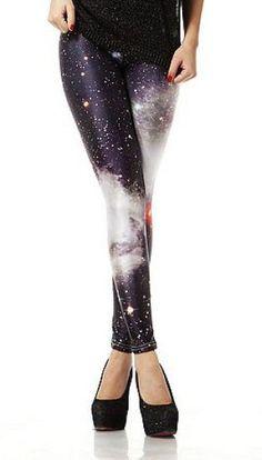 Black Galaxy Stars Print Elastic Leggings