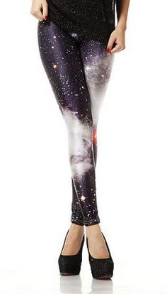 Black Galaxy Stars Print Elastic Leggings