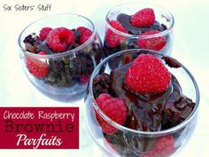 Chocolate Raspberry Brownie Parfaits- a quick and easy summer dessert! Only 3 ingredients. SixSistersStuff.com #dessert #brownie #raspberry