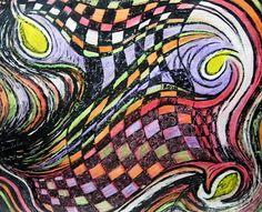 Lovey's Flag / Brenda Nachreiner 2002 / oil pastel & ink on paper / copyright 2002