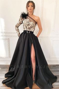Sexy Blcak One-Shoulder Side-Slit Feather Applique Prom Dress | Yesbabyonline.com