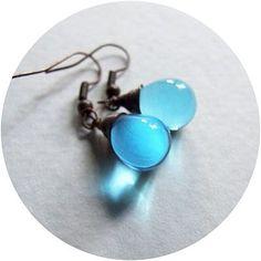 blue drop earrings  light blue wire wrapped copper  by KicaBijoux, $12.00