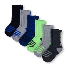 Boys Boys Place Sport Ankle Block Crew Socks 6-Pack - Blue - The Children's Place