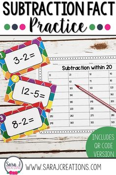 Make practicing subtraction facts more fun by using task cards! Perfect for math centers in first or second grade. Optional QR codes make it easy for students to scan with a device and self correct their answers. Click to see more! #math #taskcards #subtraction #mathfacts