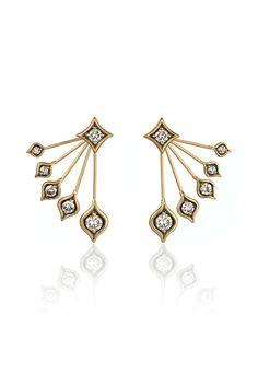 Anahita's 18-karat yellow gold ear jackets with cognacdiamonds. [Courtesy Photo]