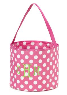 Personalized Pink Polka Dots Easter Basket Bucket at GracieClaireBoutique.com - SALE $20