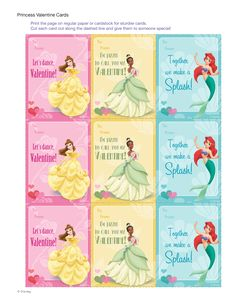 Disney Princess Valentine Cards - FREE Download -  Enchant family, friends and classmates with these elegant Disney princess Valentine's Day cards. They are sure to make anyone's day a magical one!
