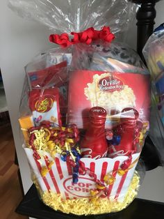 A personal favorite from my Etsy shop https://www.etsy.com/listing/289155575/movie-themed-gift-basket