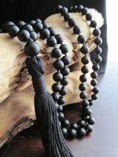 Matte Black Onyx Mala Beads, 108 Bead Mala, Tassel Necklace, Yoga Jewelry, Prayer Beads, Yoga Mala, Japa Mala, Black Mala, Meditation, Reiki
