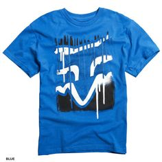 Fox Racing Disaster Tee Blue with Black & White MX Fox Head Graphic Screen Print #kidstees #foxkids
