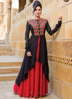 Black & Red Wedding Wear Long Sleeve Salwar Suits Collection 2015 #eidsalwarkameez #wholesalesalwar #eidclothsUK #shalwarkameez #traditionalsalwar #eidbestcollection #eiddresses #salwarsuitsshopping #eiddressmaterail Buy this collection @ http://www.suratwholesaleshop.com/50039-Black-Wedding-Wear-Net-Floor-Length-Salwar-Suit?view=catalog