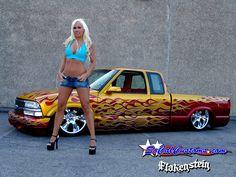 Socal Customs model Julie Haffey and a Chevy Mini Trucks, Chevy Trucks, Chevy S10 Xtreme, Lowered Trucks, Chevy Girl, S 10, Pin Up Girls, Hot Rods, Mini Skirts