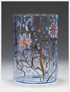 "Emile Gallé ""Clair d Lune"" Vase with Cornflowers c.1879 「ヤグルマギク文花瓶 」"