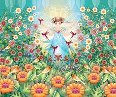 Garden Princess Mural (1280202) - Paper Moon Murals - This image is supplied as a single mural.  A magical dreamscape with intricate patterns, birds and flowers with girl's figure in the centre.  Multi coloured with oranges and greens.  Paste the wall.