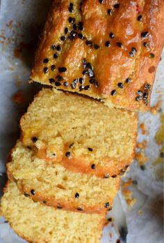 Lemon passionfruit loaf made with coconut cream. Delicious!