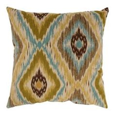 Alexandria Olive Green Aqua Blue Brown Striped Cotton Throw Pillow 16.5 x 16.5