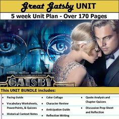 The Great Gatsby Unit Plan Teaching Aids, Student Teaching, Teaching Reading, Teaching Tools, Ap English, English Lessons, Pacing Guide, Teaching Techniques, Film Studies