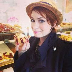 Felicia Day eating a Felicia beer butter donut