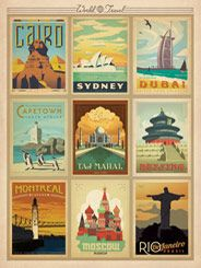 World Travel Multi-Image Print 2 - Having a hard time choosing a favorite World Travel Print? No worriesthis Multi-image print features some of our most popular non-European travel destinations! It is sure to turn any room into an explorers paradise.