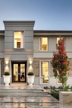 exterior inspiration mouldings on columns grey white hamptons style