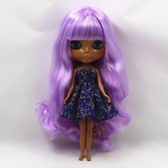 260BL7008 purple curly long hair with bangs dark Skin tan skin Nude Doll suitable for change DIY-in Dolls from Toys & Hobbies on Aliexpress.com | Alibaba Group