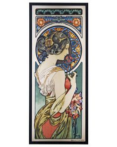 The Primrose, 1899 Art Glass Panel by Alphonse Mucha is adapted from a color lithograph. It was originally called Flower, but after the publication of the Flowers series, its name was changed to Primrose.