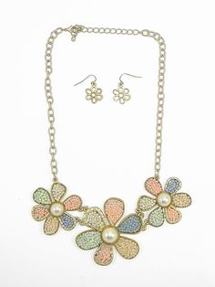 Gold and Pastel Flower Necklace and Earrings - $24.00 : FashionCupcake, Designer Clothing, Accessories, and Gifts