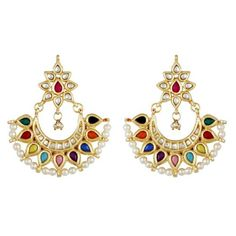 Shopo.in : Buy Multi Coloured Kundan Chand Balis online at best price in New Delhi, India