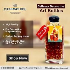 Decoration Piece, Art Decor, King Art, Household Products, Bottle Art, Culinary Arts, Decorative Items, Bottles, Shopping