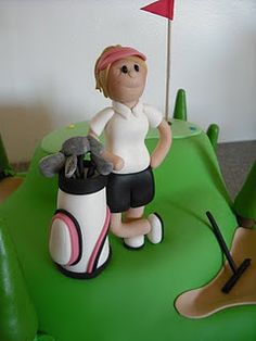 Cute girl golfer/bag for golf cake.