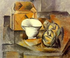 Pablo Picasso - Still Life (cabinet, fruit dish, cup), 1909