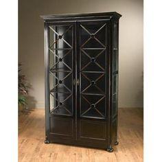 Elegant Antique Black Bookcase 41703_h1pThis Impressive AA Importing Co. Antique Black  Bookcase 41703 Features Large Double Glass Doors With Latticework Frames,  ...