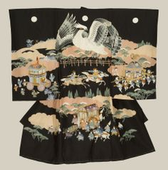 "Boy's Omiyamairi Kimono, 1960-1980, A fine silk boy's ceremonial kimono featuring a vast amount of fine motifs, with some embroidery highlights. This garment seems to be incomplete, as the family crests were never put on, so it is possible that this kimono has never been worn. Includes an inner rayon juban (undergarment). 35"" x 36"""