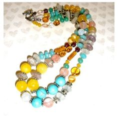 CHUNKY GEMSTONE NECKLACE, Chunky Gemstone Handcrafted Beaded Necklace,... ❤ liked on Polyvore featuring jewelry, necklaces, multi strand silver necklace, quartz necklace, jade necklace, turquoise bead necklace and gemstone beaded necklaces
