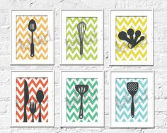 Kitchen Art Prints - Chevron Kitchen Set of 6- 5X7 Inches, Choose colors and custom sizes, Fathers Day, Mothers Day. $34.00, via Etsy.