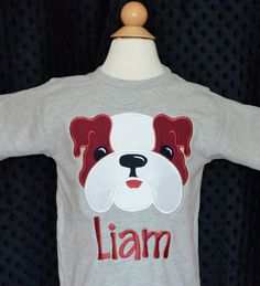 Personalized Football Bulldog Applique Shirt or Onesie on Etsy, $25.00