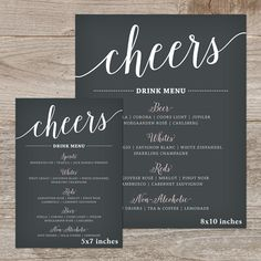 { Wedding Drink Menu } The Bella Script cheers bar sign printable features a lovely modern calligraphy font and makes a great addition to your wedding decor! Printable Drink Menu: ...in size 5x7 or 8x10 inches ...includes color changes ...cheers or drinks heading ...3 rounds of