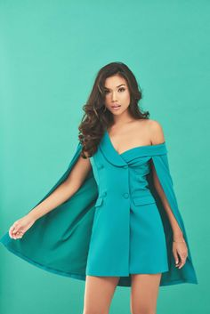 Off The Shoulder Double Breasted Cape Blazer Dress in Jade Green Shoulder Cape, Off The Shoulder, Tuxedo Dress, Teal, Turquoise, Blazer Dress, Jade Green, Double Breasted, Summer Dresses