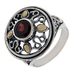 Solid Sterling Silver & 14 K Gold Garnet Ring»R26