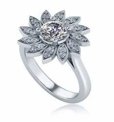 Flower Pave Halo Ring. Lab created laboratory grown cubic zirconia set in 14k gold, 18k gold or platinum.